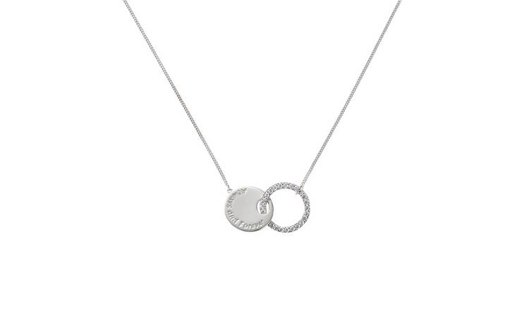 Moon & Back Sterling Silver Love Disc Pendant