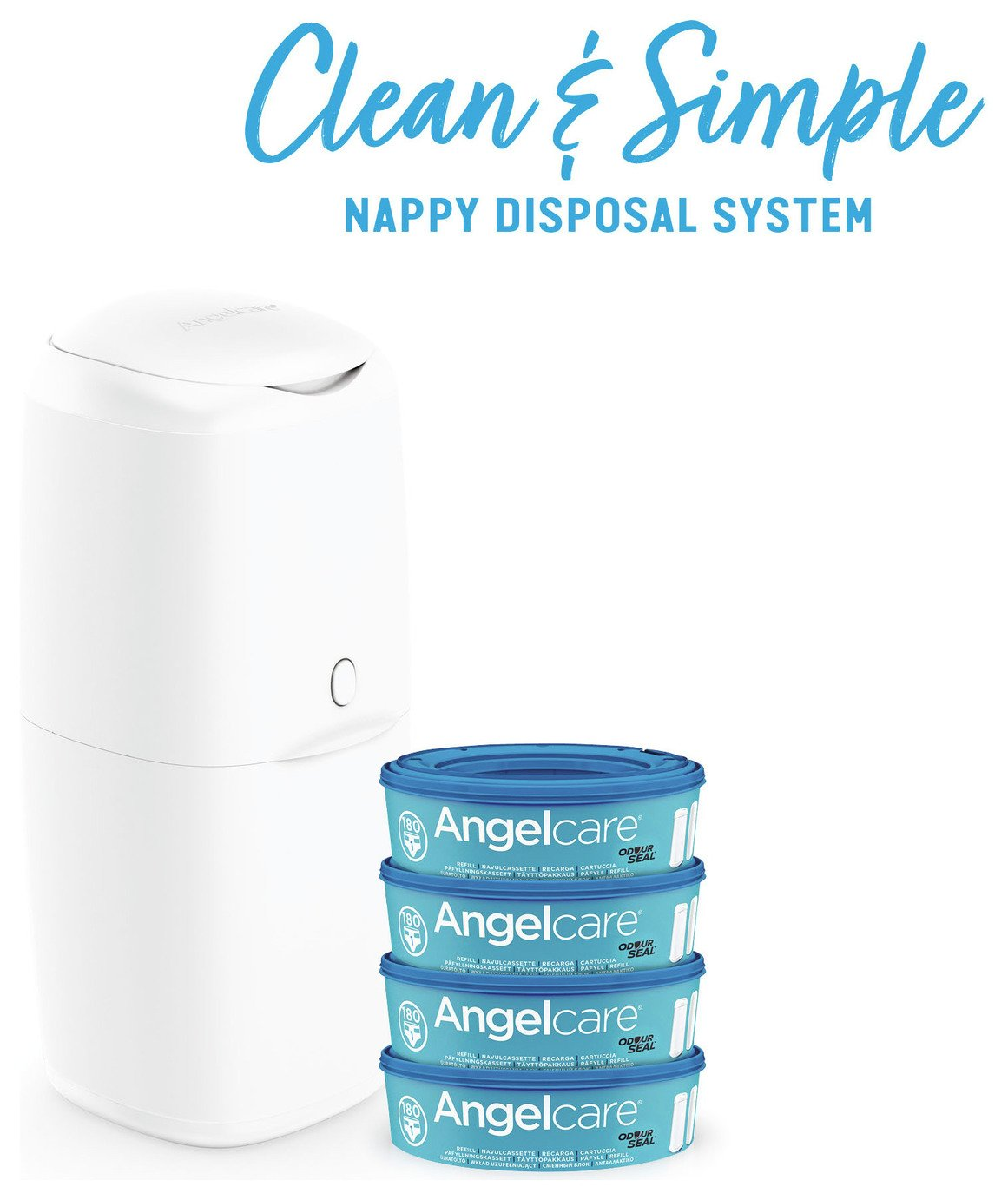 Angelcare Nappy Bin and 4 Refill Cassettes