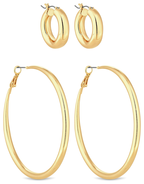 Lipsy Gold Colour Hoop Earrings - Set of 2