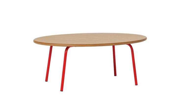 Habitat Kirby Oak And Red Gloss Metal Coffee Table