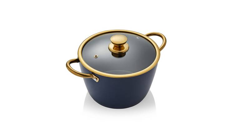 Tower 24cm Ceramic Non Stick Casserole Dish - Blue and Gold