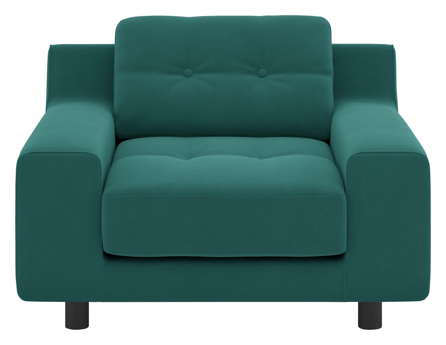 Habitat Hendricks Velvet Armchair - Teal