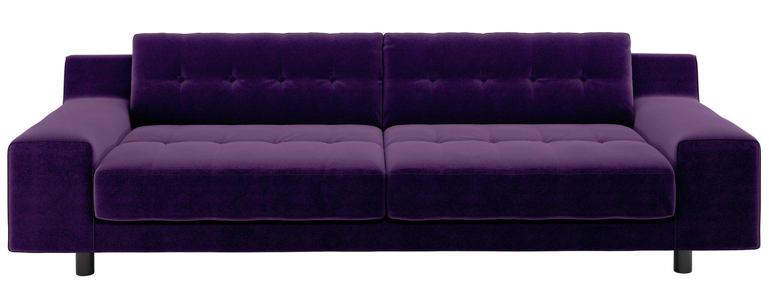 Habitat Hendricks 4 Seater Velvet Sofa - dark purple
