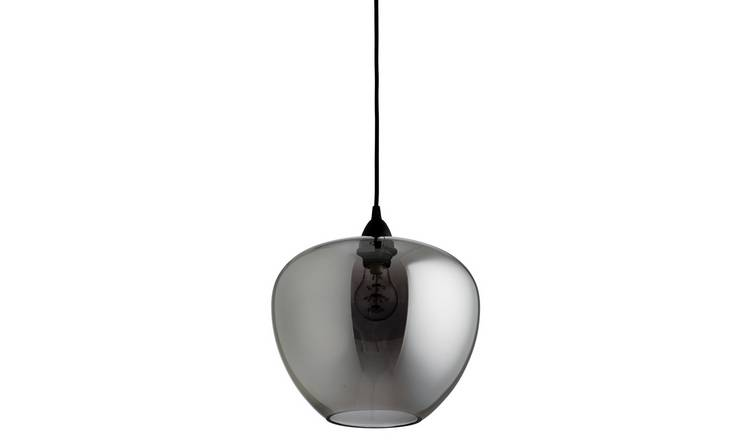 Habitat Imogen Easy to Fit Glass Ceiling Shade - Smoke Grey