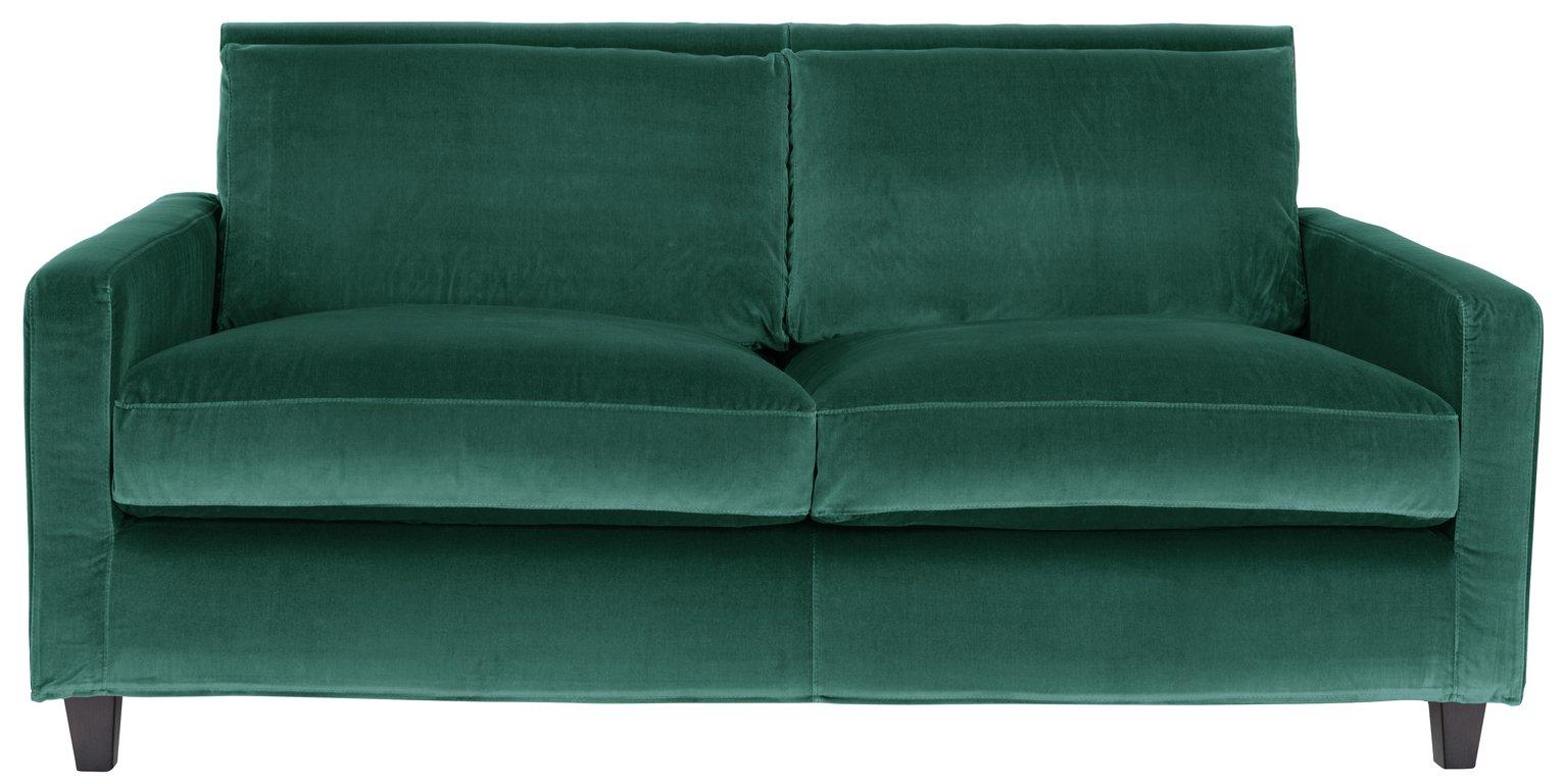 Habitat Chester 2 Seater Velvet Sofa - Emerald Green