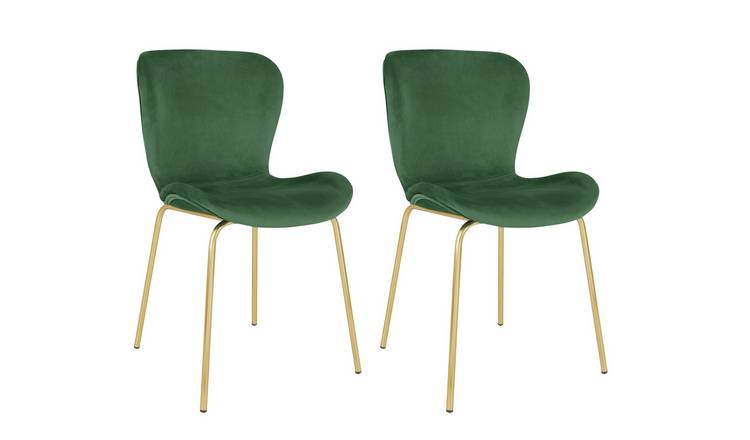 Habitat Etta Pair of Velvet Dining Chair - Green