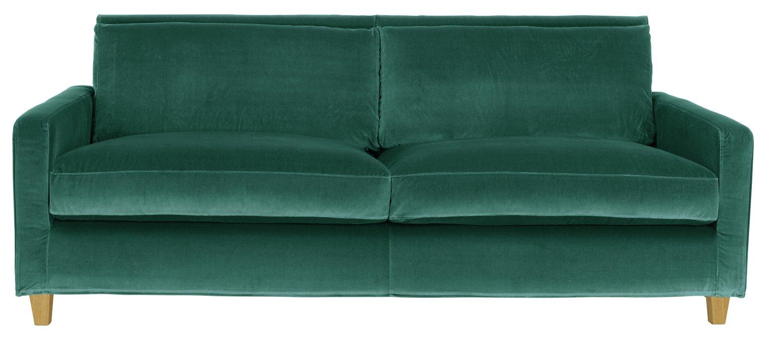 Habitat Chester 3 Seater Velvet Sofa - Emerald Green