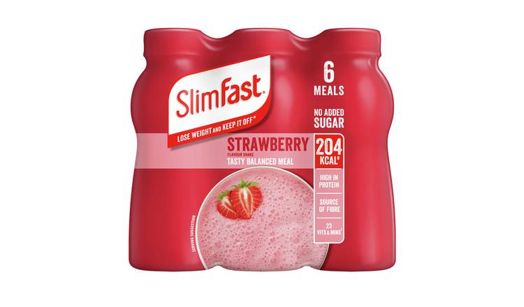 SlimFast Strawberry Ready To Drink Shakes 6x325ml