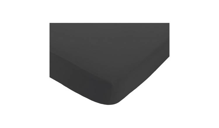 Habitat Washed Charcoal Grey 30cm Fitted Sheet - King Size
