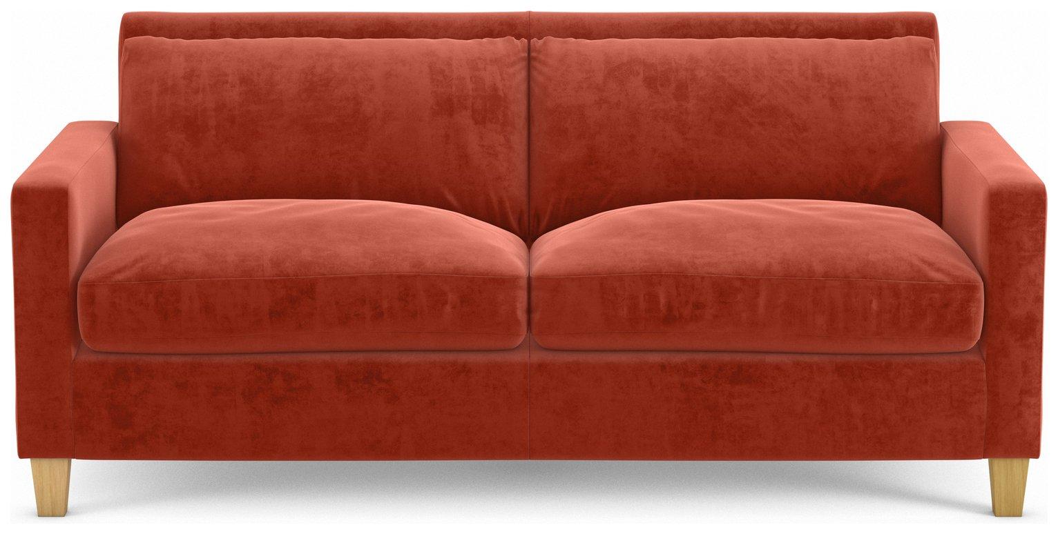 Habitat Chester 2 Seater Velvet Sofa - Orange