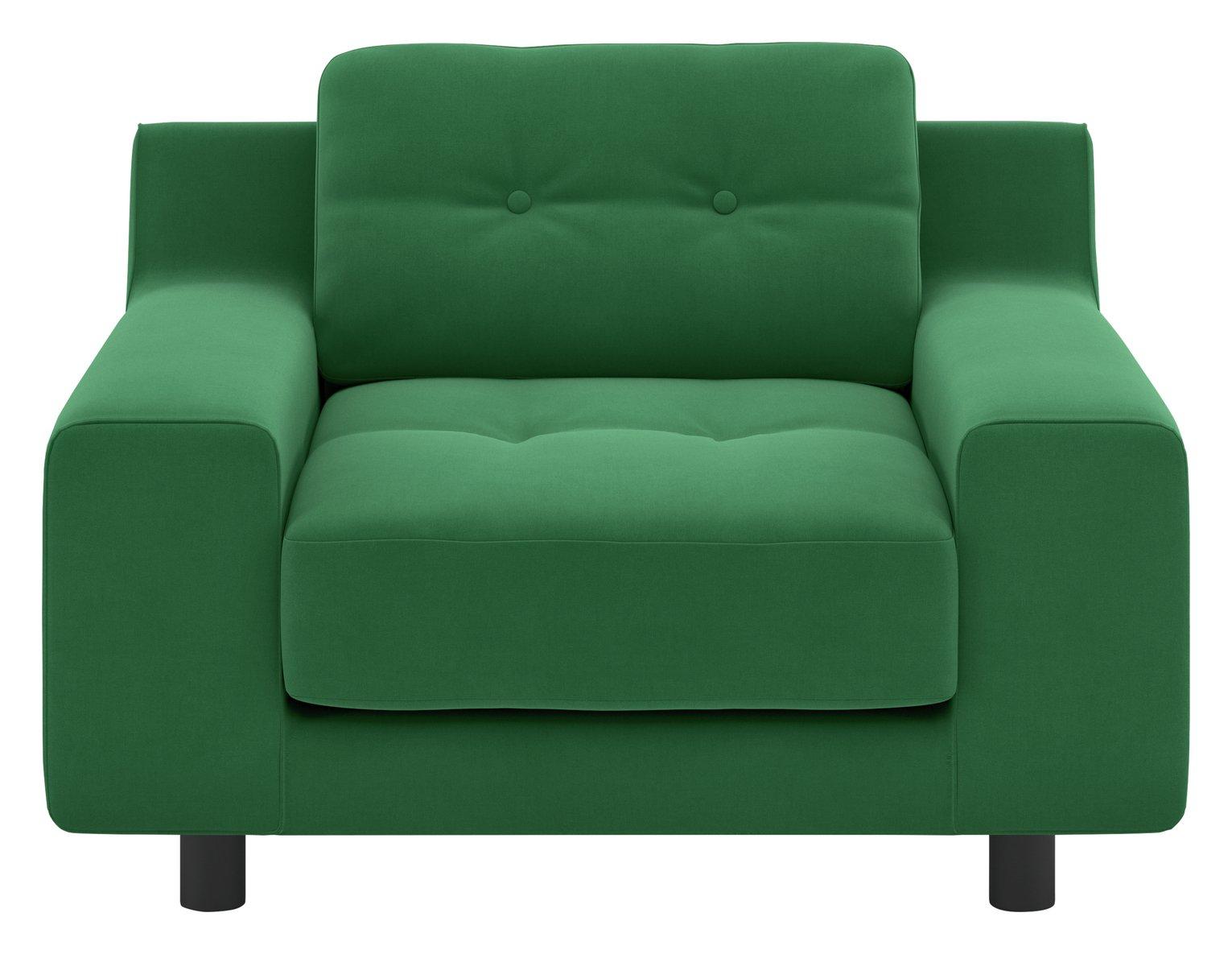 Habitat Hendricks Velvet Armchair - Green
