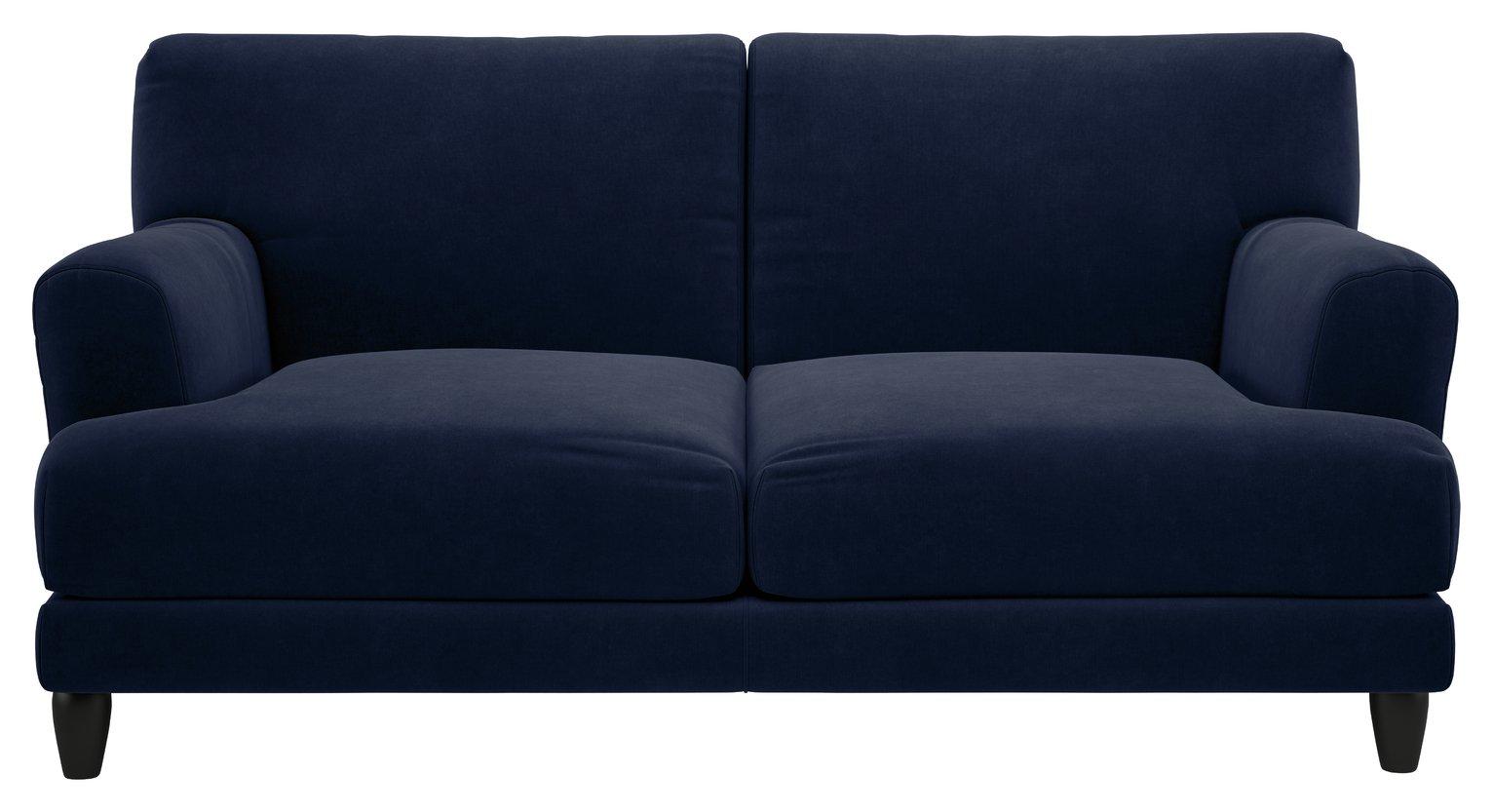 Habitat Askem 2 Seater Velvet Sofa - Navy