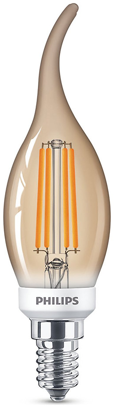 Philips LED Filament E14 5W (32W) Dim Candle Bulb - Gold