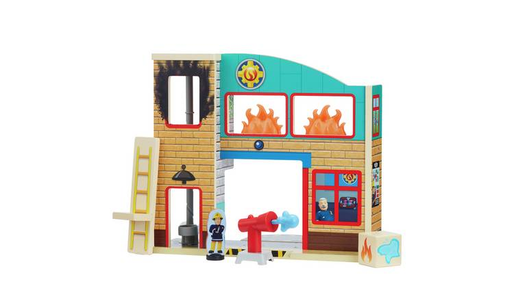 Fireman Sam Fire Station with Figures Wooden Playset