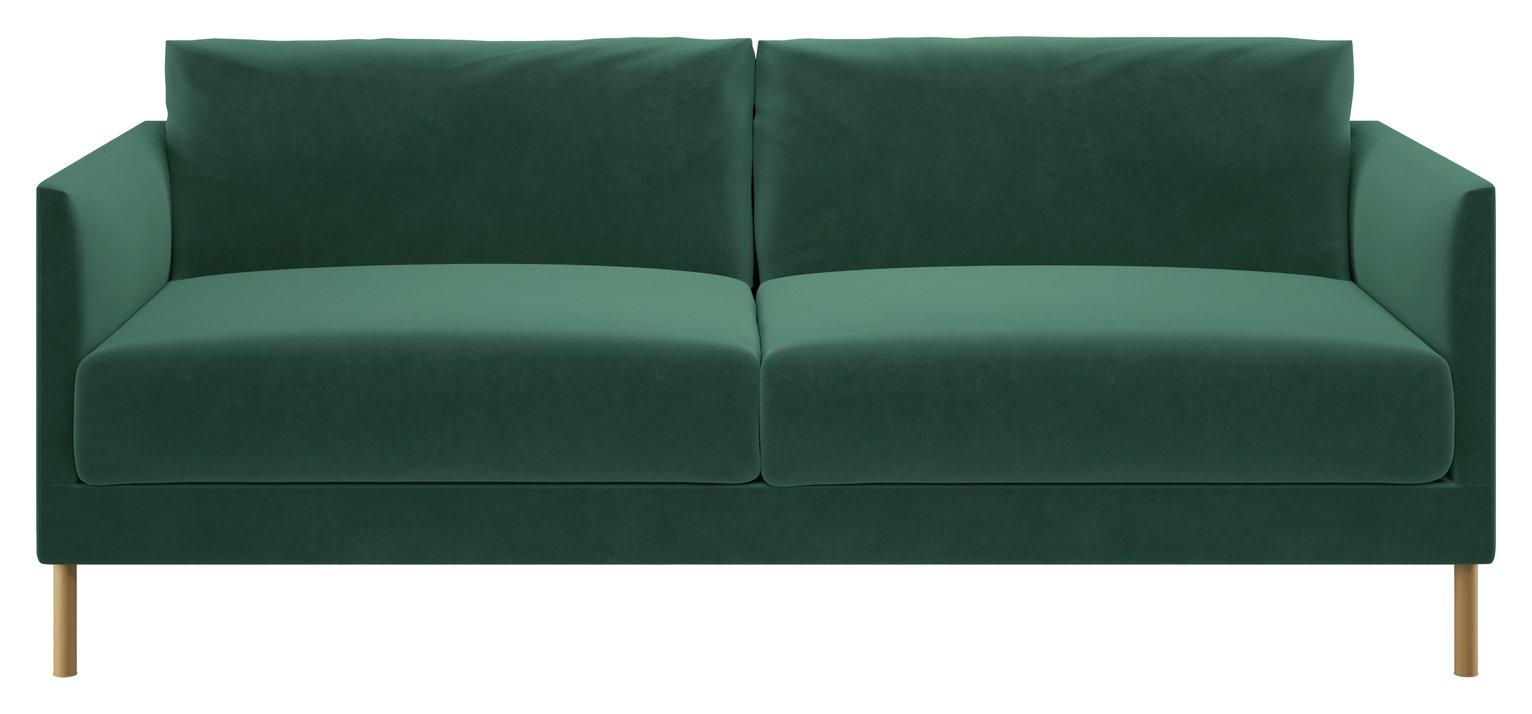 Habitat Hyde 3 Seater Velvet Sofa - Green