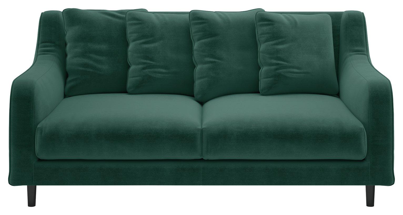 Habitat Swift 2 Seater Velvet Sofa - Emerald Green