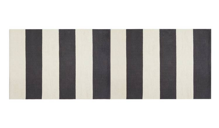 Habitat Raya Woven Cotton Runner- 65x95cm - Black and White