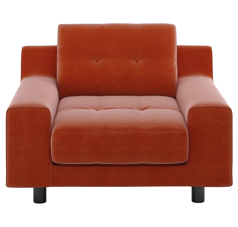 Habitat Hendricks Orange Velvet Armchair