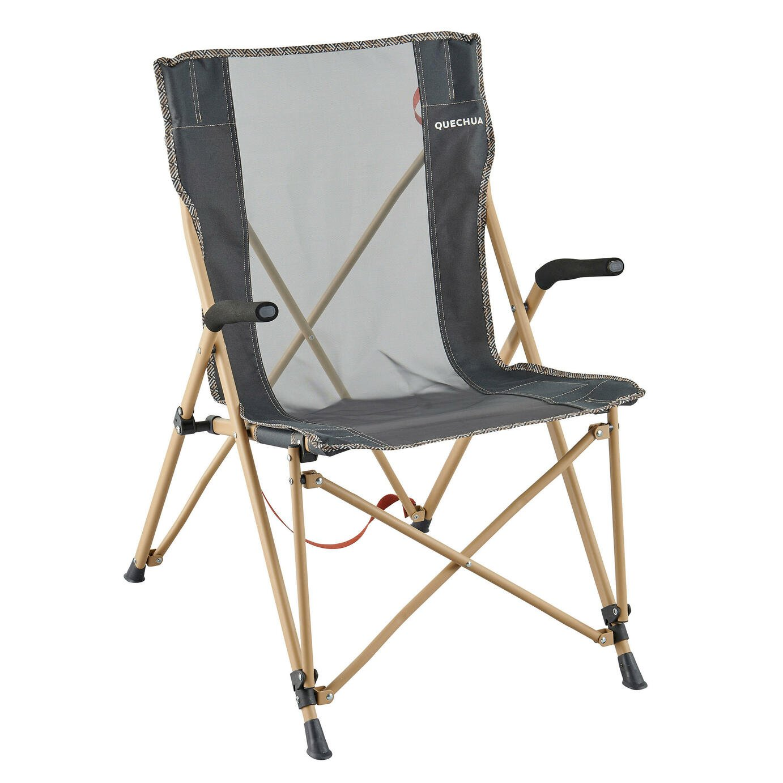 Decathlon Steel Folding Camping Armchair - Black