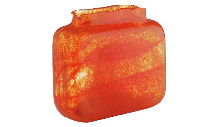 Habitat Tangelo Orange Bubble Rectangular Glass Vase