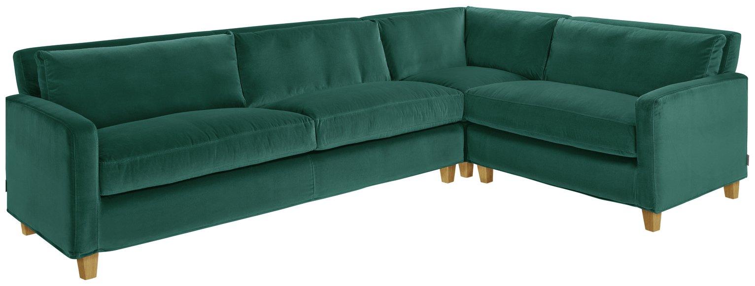Habitat Chester Left Corner Velvet Sofa - Emerald Green