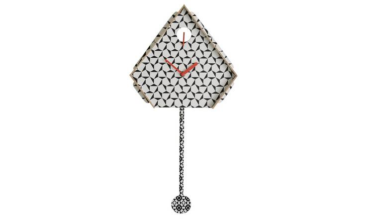 Habitat Miu Black and White Patterned Cuckoo Wall Clock