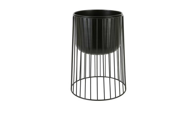 Habitat Zed Low Black Plant Pot With Spindle Legs