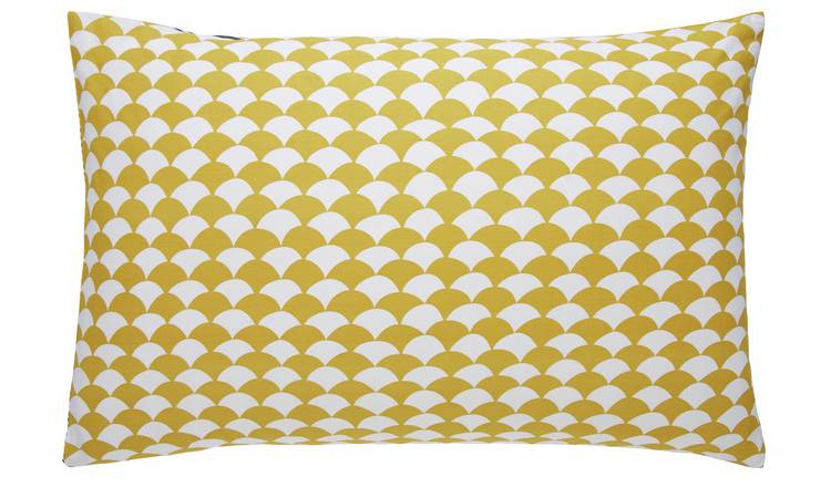 Habitat Scallop Cotton Standard Pillowcase Pair - Mustard