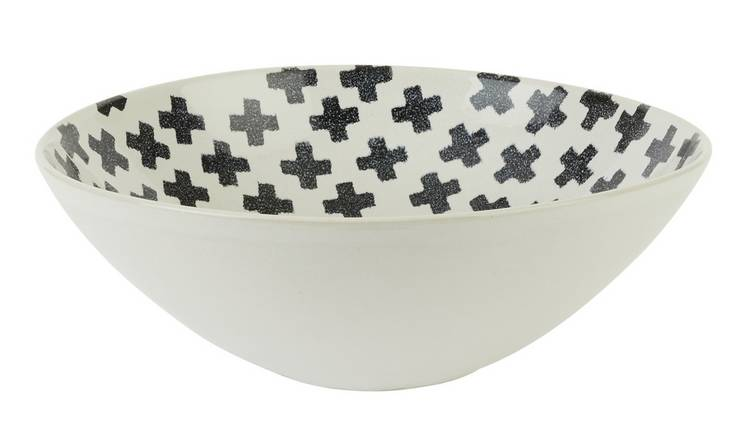 Habitat Wilma Serving Bowl - Black Cross