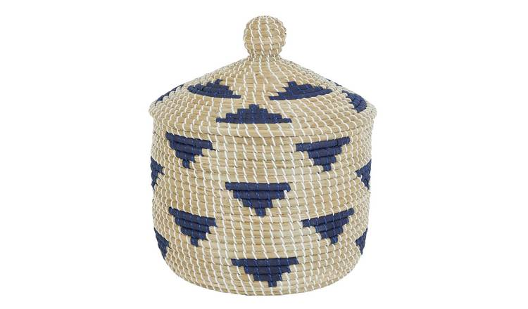 Habitat Hogan Large Seagrass Storage Basket with Lid - Blue