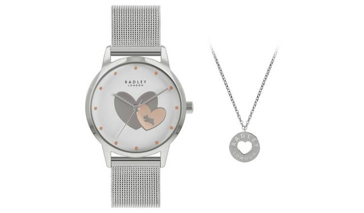 Radley Ladies Mesh Silver Strap Watch and Necklace Set