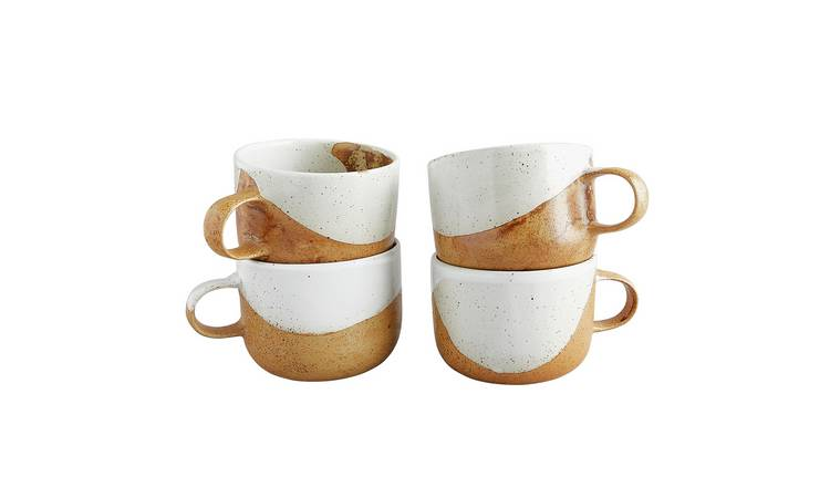Habitat Elzora Set Of 4 Stoneware Mugs - White