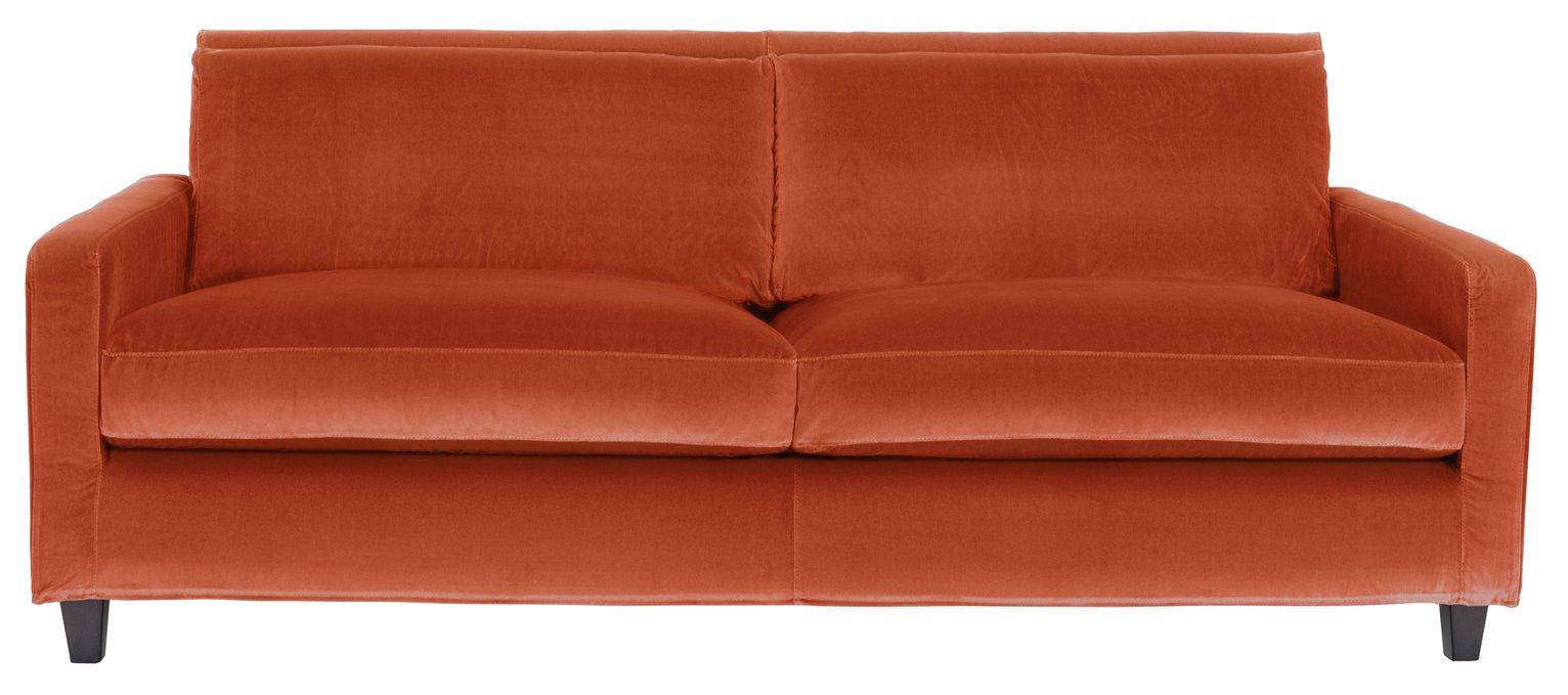 Habitat Chester 3 Seater Velvet Sofa - Orange