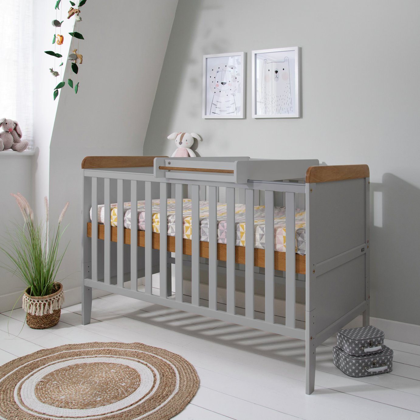 Tutti Bambini Rio Cot Bed Changer and Mattress - Grey