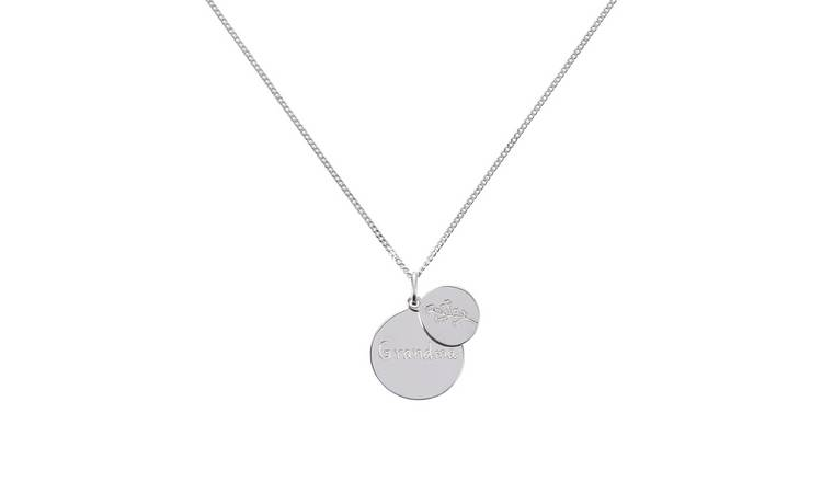 Moon & Back Sterling Silver 'Grandma' Disc Pendant Necklace