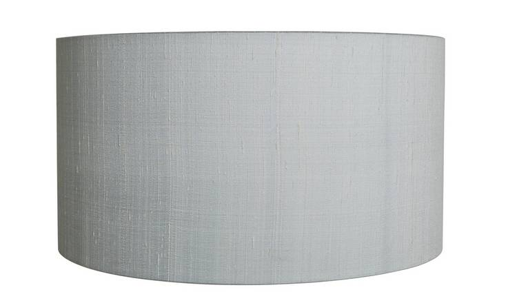 Habitat Drum Silk 49cm Shade - Mist Grey