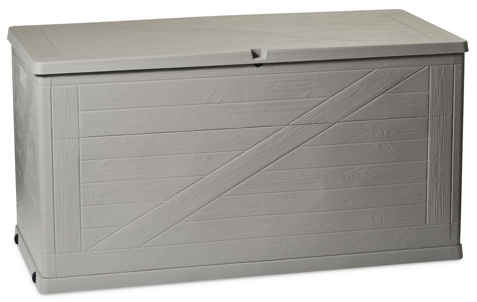 Toomax Santorini 420L Wood Effect Cushion Storage Box - Grey