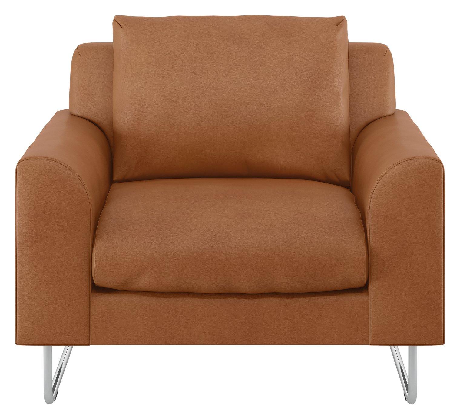Habitat Lyle Tan Premium Leather Armchair