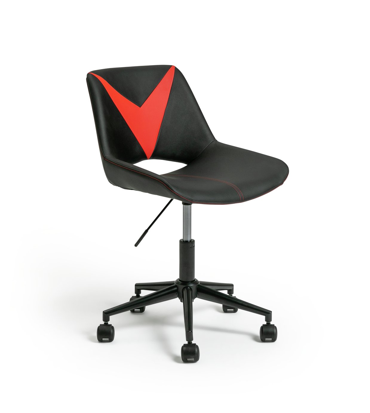 Habitat Saber Faux Leather Gaming Chair - Red and Black