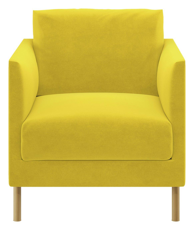 Habitat Hyde Yellow Velvet Armchair