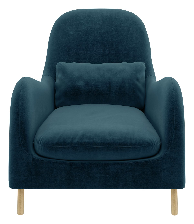 Habitat Smithfield Velvet Armchair - Ink Blue