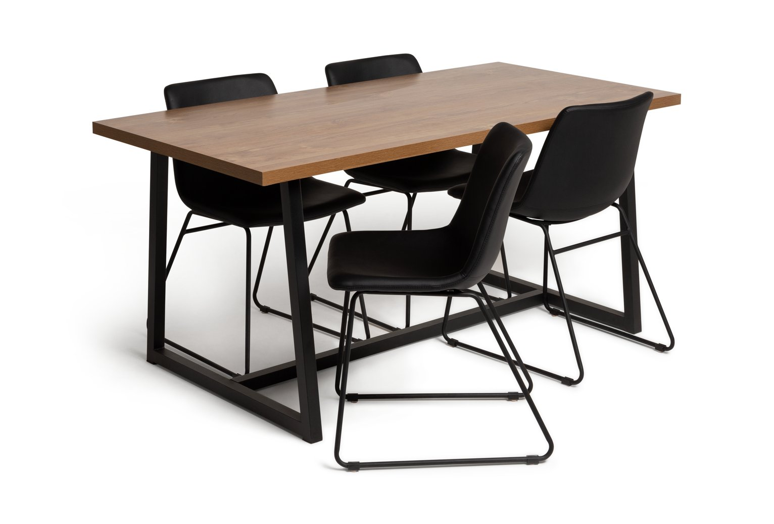 Habitat Nomad Wood Dining Table and 4 Joey Black Chairs