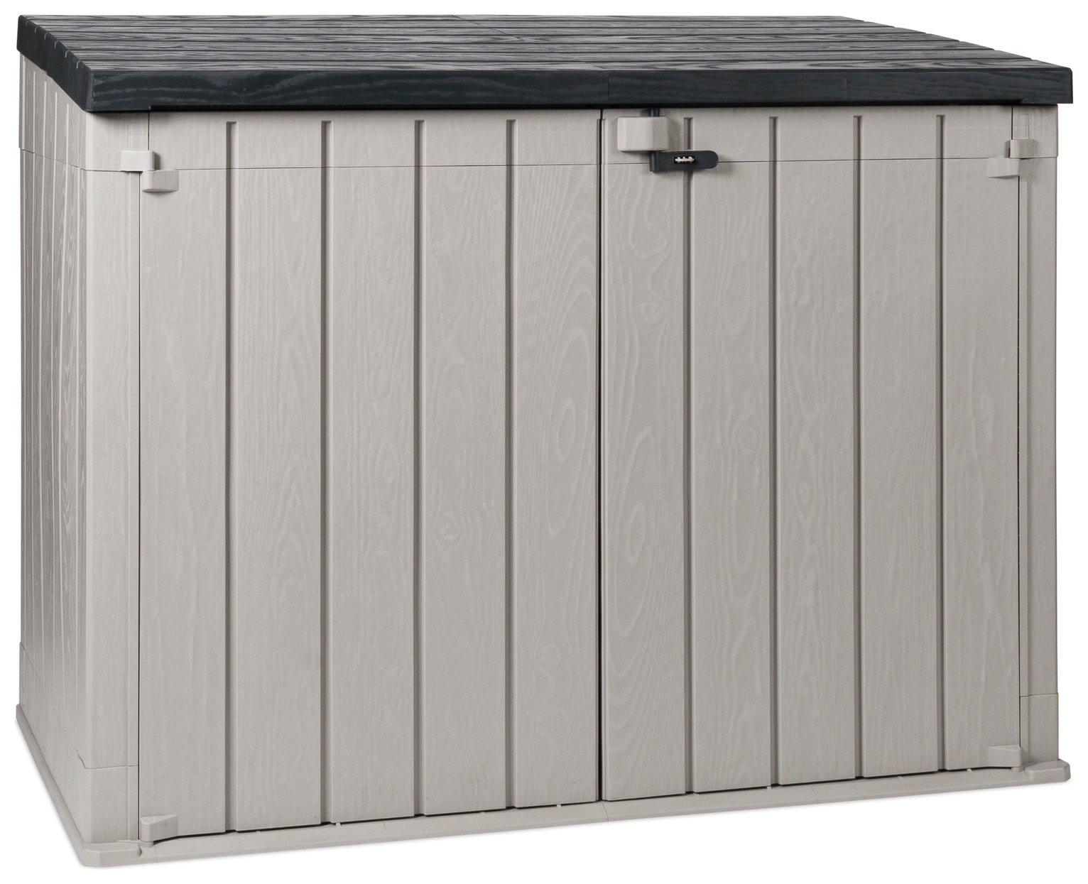 Toomax Storaway 1270L Wood Effect Garden Storage Box - Grey