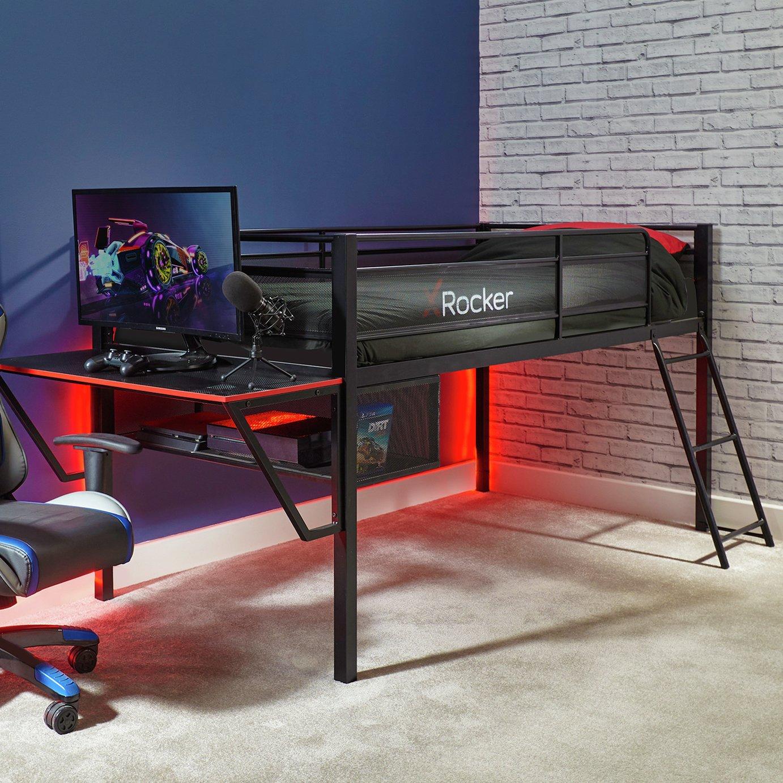 X Rocker Gaming Mid Sleeper Bed, Desk & Kids Mattress -Black