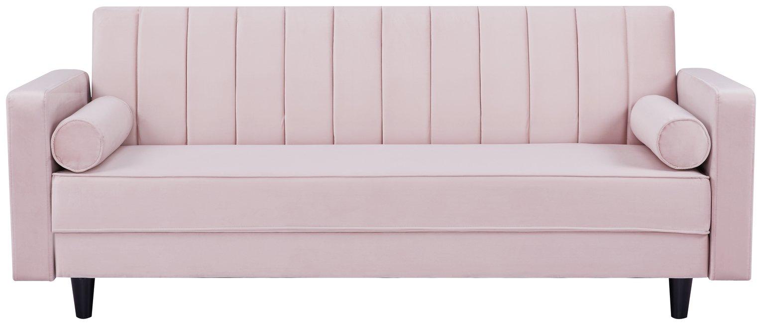 Habitat Preston Clic Clac Velvet Sofa Bed - Pink