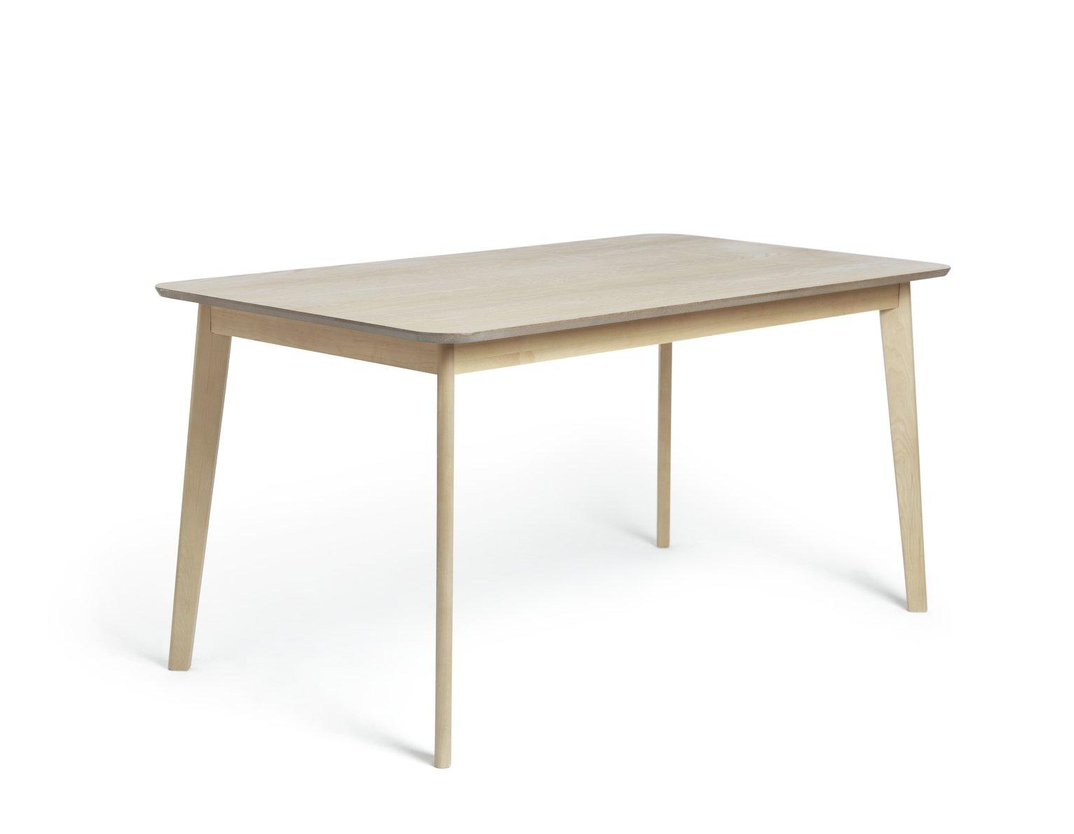 Habitat Skandi Wood Dining Table and 4 Beni Grey Chairs