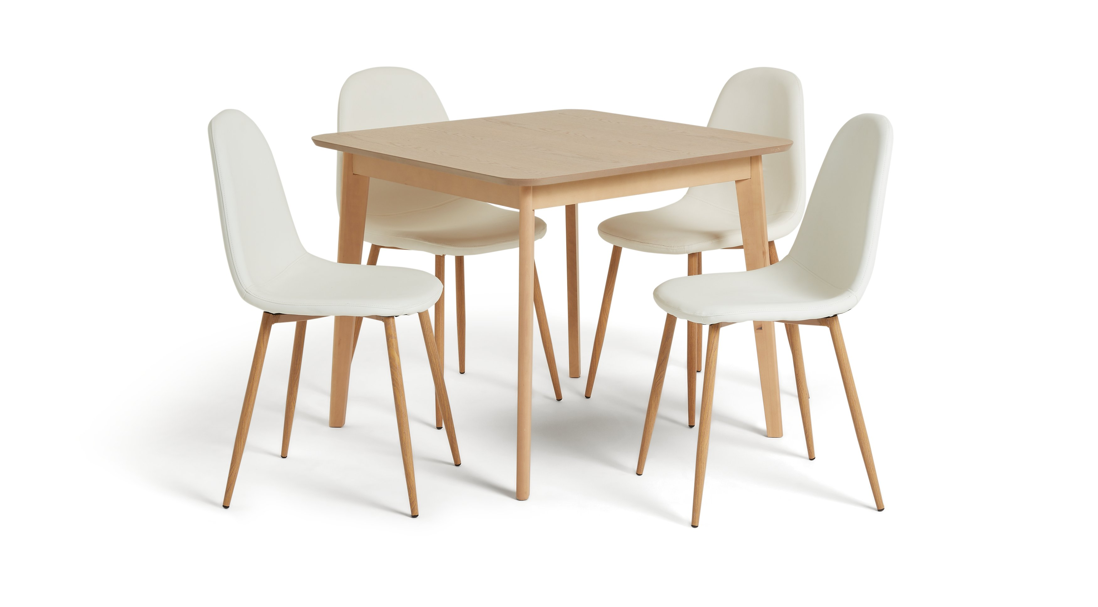 Habitat Skandi Wood Dining Table and 4 Beni White Chairs