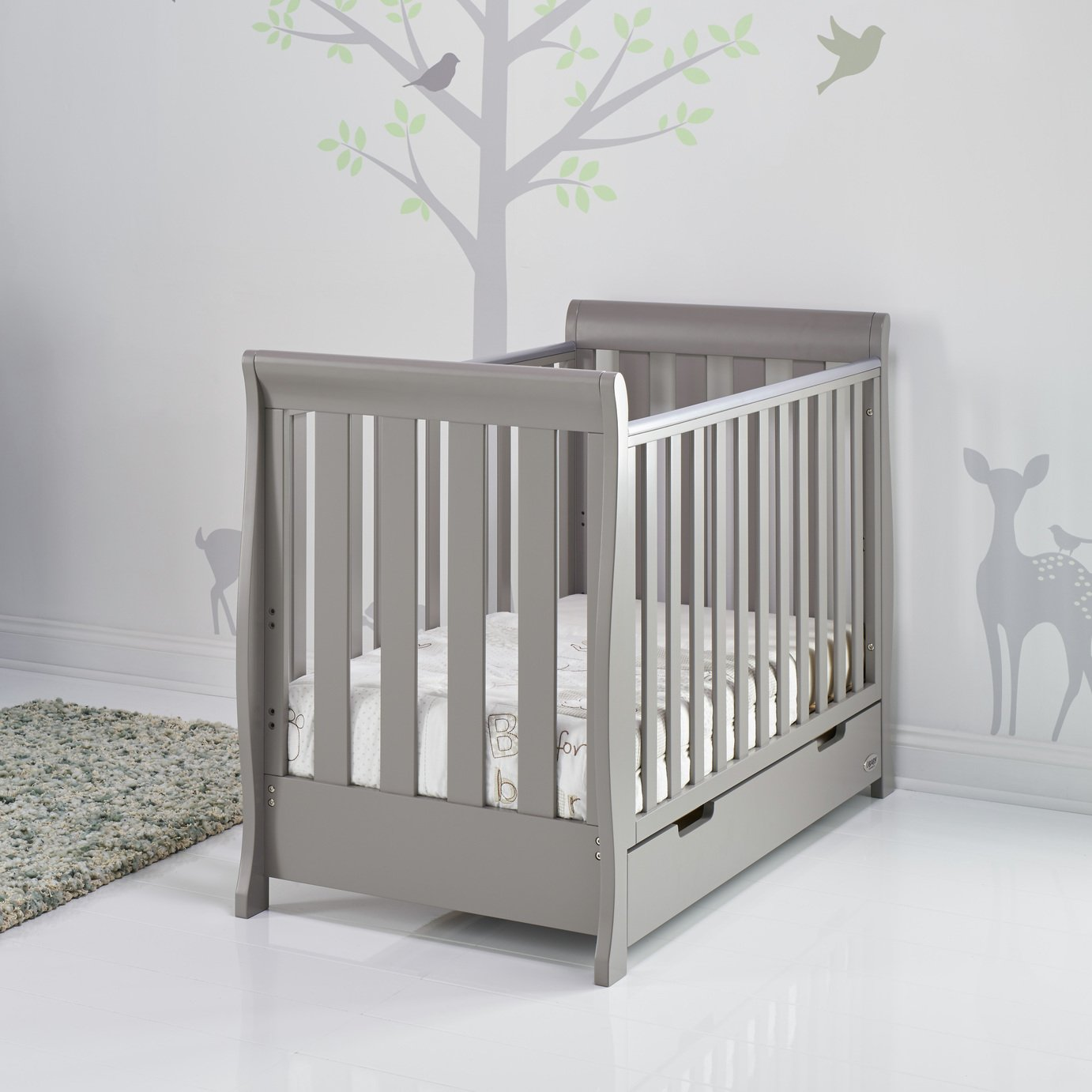 Obaby Stamford Mini Sleigh Cot Bed and Drawer - Taupe Grey