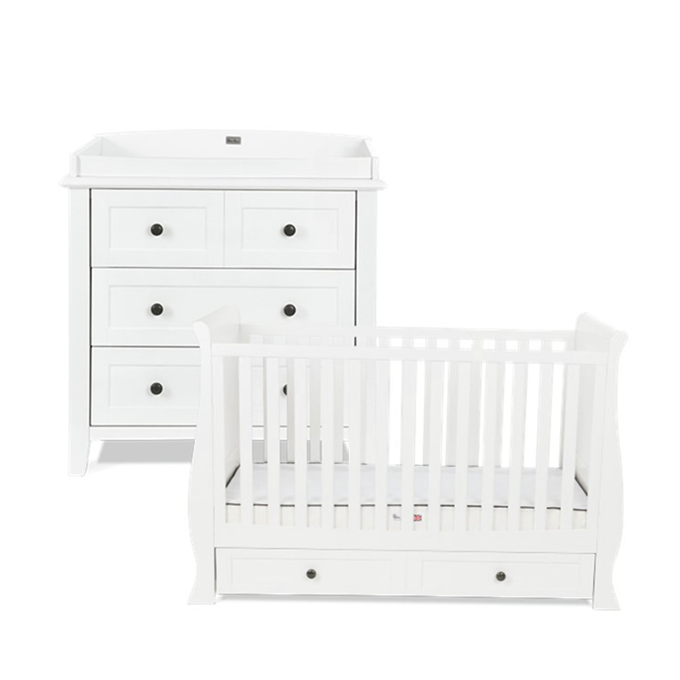 Silver Cross Nostalgia Sleigh Cot Bed and Dresser Set-White
