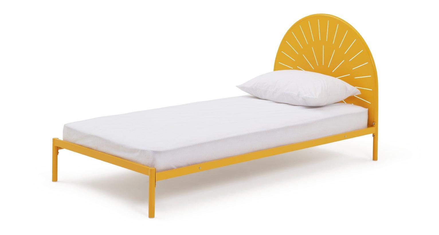 Habitat Sunburst Single Bed Frame and Kids Mattress - Yellow